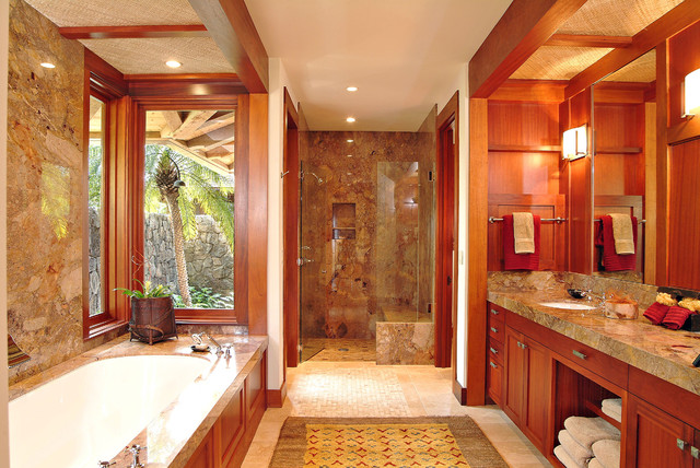 Master bath tropical bathroom hawaii by saint for Tropical bathroom ideas