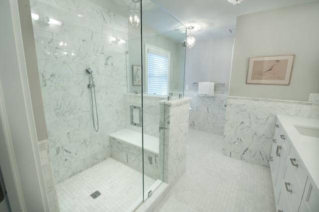 Master Bath Shower amp Seat Transitional Bathroom
