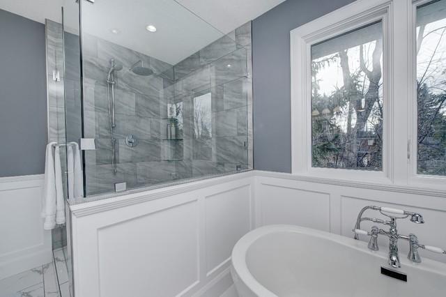 master bath shower enclosure and wainscot paneling around