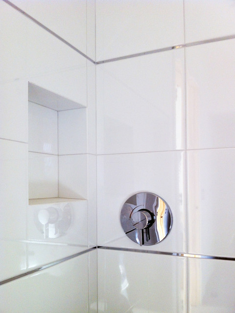 Master Bath Shower White Tile And