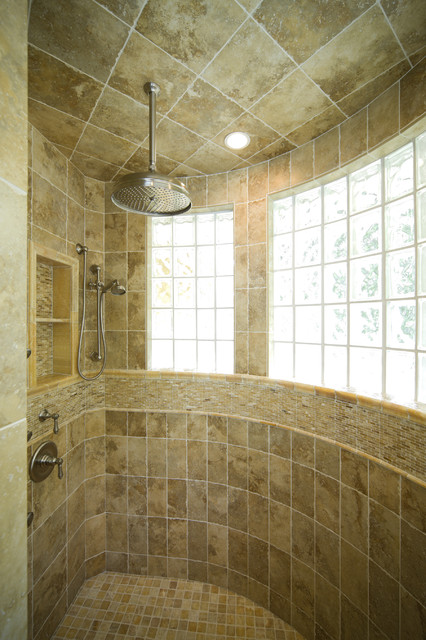 Master Bath Shower with Extensive use of Onyx - traditional ...