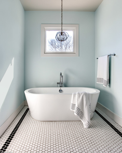 farmhouse glam bathroom master bath soaking tub with glam pendant farmhouse 142