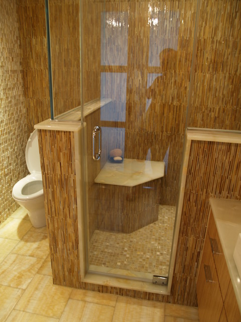 Master Bath Steam Shower Seat Contemporary Bathroom