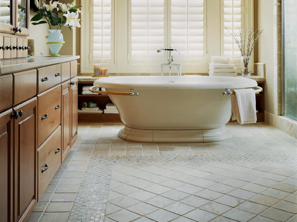 Master bath stone floor mosaic traditional bathroom for The ingenious ideas for bathroom flooring
