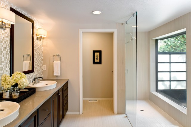 Master Bath Walk In Closet And Powder Room Remodel Contemporary Bathroom