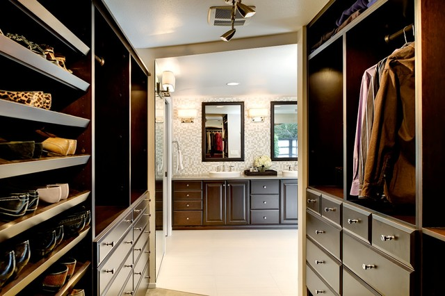 Master bath walk in closet and powder room remodel for Master bathroom designs with walk in closets