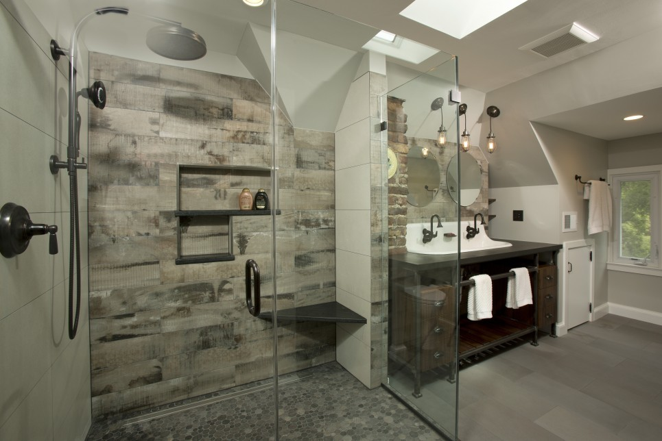 Doorless shower - large industrial master gray tile and porcelain tile porcelain tile and gray floor doorless shower idea in DC Metro with a trough sink, dark wood cabinets, solid surface countertops, gray walls, open cabinets, a two-piece toilet and a hinged shower door