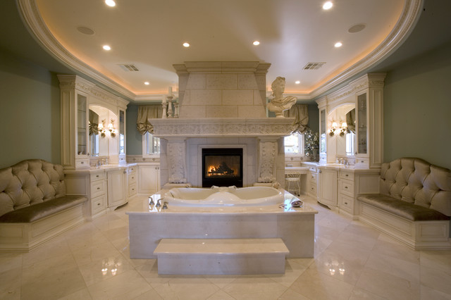 master bath suite with his and her vanities and closets mediterranean bathroom - Luxury Master Bathroom Suites