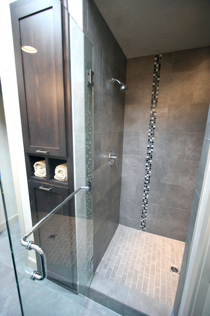 Master Bath + Tiled Shower + Linen Cabinet modern bathroom
