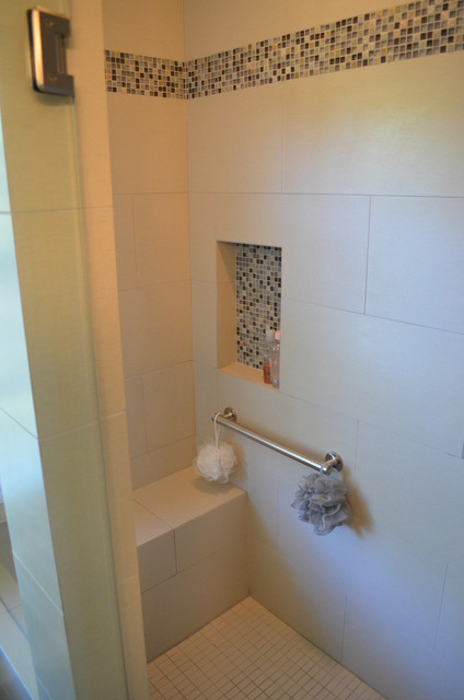 master bath tub to seated shower conversion