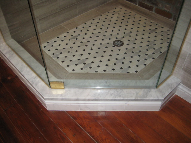 Master bath vanity shower threshold and kneewall cap for Marble threshold bathroom