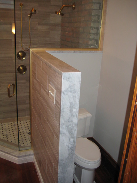 Master Bathroom Knee Wall master bath vanity, shower threshold, and kneewall cap: carrera marble