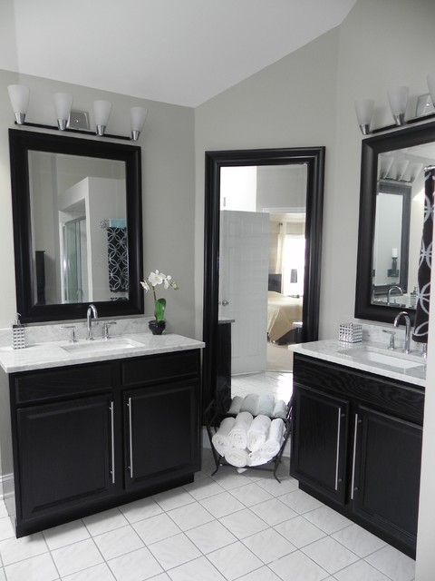 superior Using Kitchen Cabinets In Bathroom #1: Master Bath Vanity Using Kitchen Cabinet Bases contemporary-bathroom