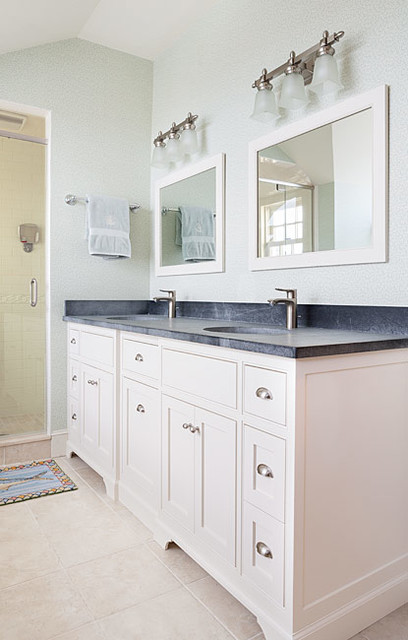 Master bath vanity with barroca soapstone counters farmhouse bathroom boston by jewett for Soapstone bathroom accessories
