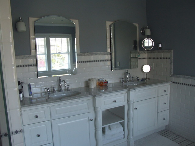 Master bath vanity with robern cabinets chrome fixtures for Master bathroom fixtures