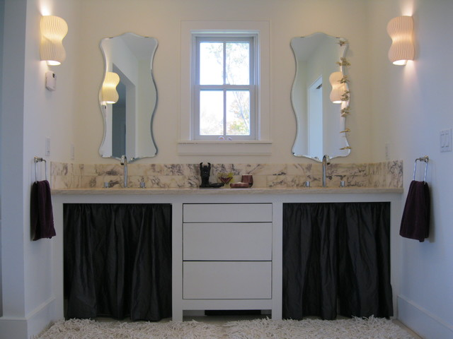 Master bath vanity with marble backsplash eclectic-bathroom