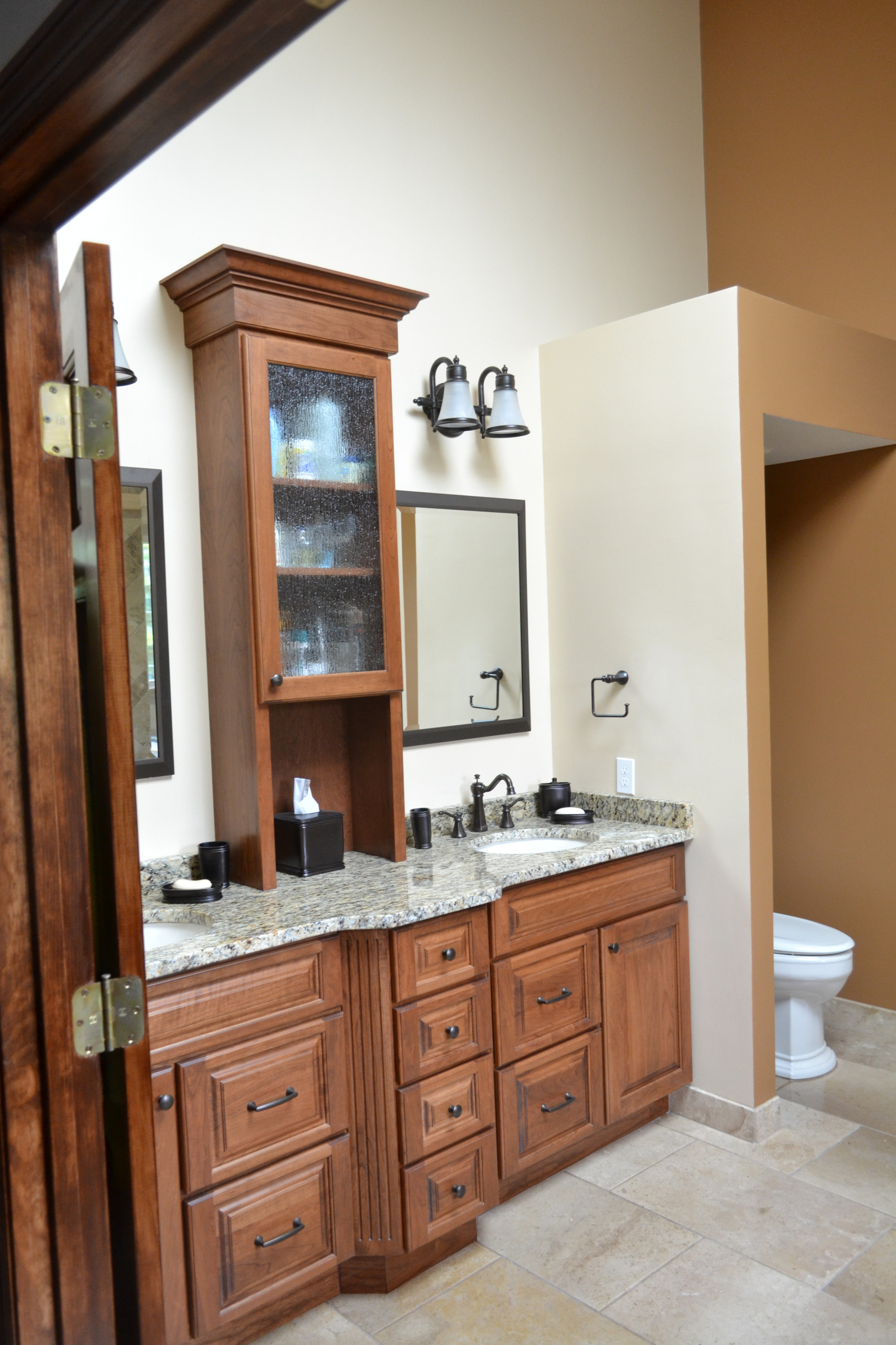 Master bath vanity with storage tower