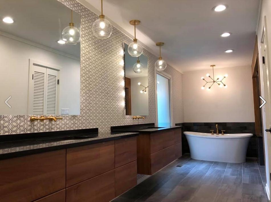 Master bath wall paper installation