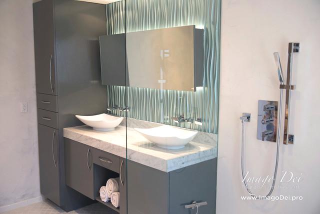 Master Bath Waterproof Veneer Plaster Metallic Tile Transitional Bathroom Houston By