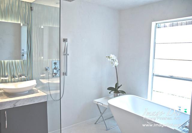 Master Bath Waterproof Veneer Plaster System Transitional Bathroom Houston By Imago Dei