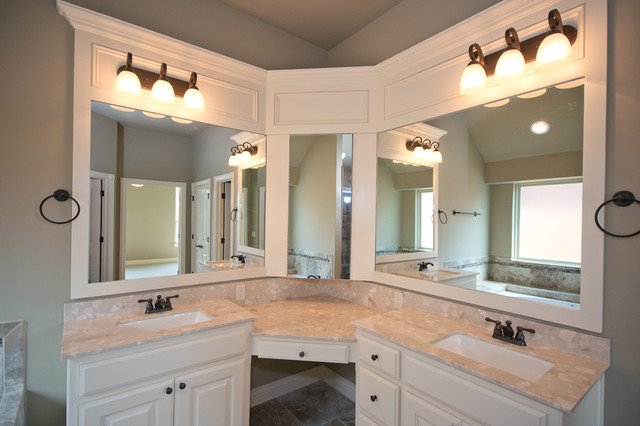 corner double sink vanity. Master Bath with Corner Vanity and Double Sinks transitional bathroom  Transitional