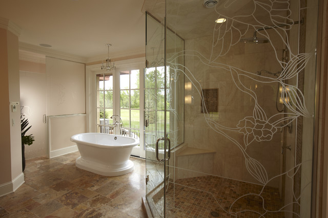 Master Bath With Custom Etched Glass SHower Traditional Bathroom