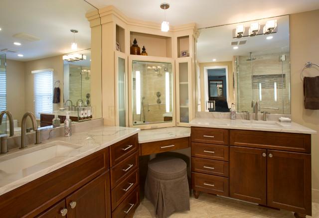 Master Bath With Custom Makeup Station Traditional Bathroom