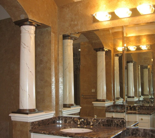 Master Bath With Faux Marble Columns Traditional