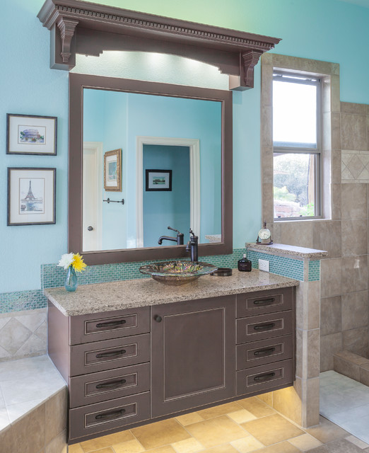 master bath with floating vanities traditional bathroom