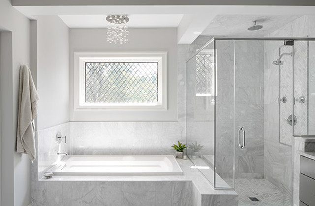 Charming Master Bath With Glass Shower And Leaded Glass Window Bathroom