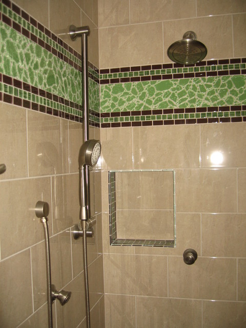 Master Bath with glass tile eclectic-bathroom