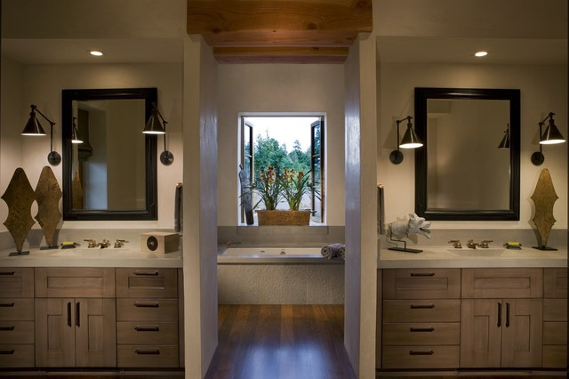 Master bath with his and her 39 s concrete counters rustic bathroom san francisco by saint Bathroom designs with separate tub and shower