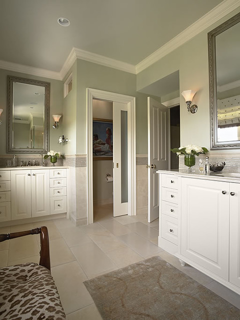 Master bath with his and hers vanities contemporary for His and hers bathroom