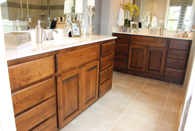 Master Bath With Knotty Alder Cabinets And White Counter Tops