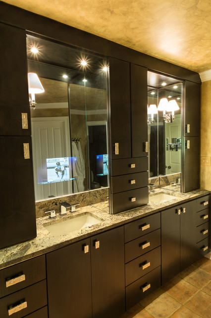 tv behind mirror bathroom master bath with tv mirror transitional 21061