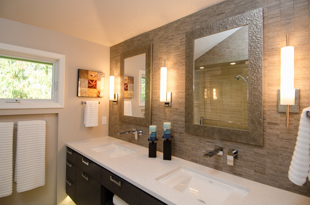 Bathroom Lighting Vaulted Ceiling master bath with vaulted ceiling remodel - contemporary - bathroom