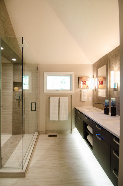 Master Bath With Vaulted Ceiling Remodel Contemporary Bathroom Portland By Pangaea
