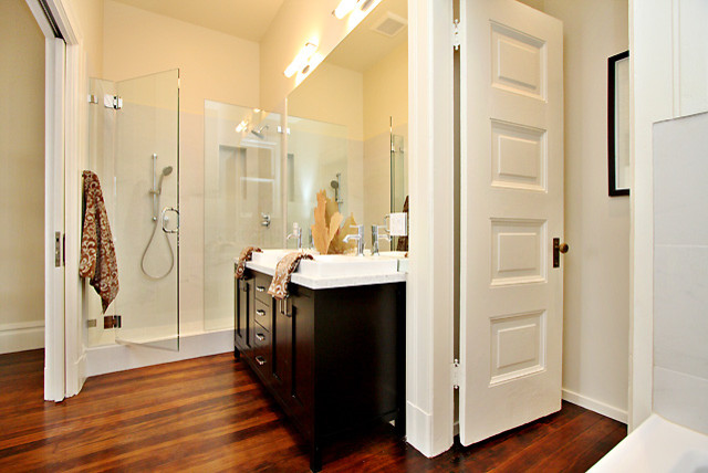 Master bath with walkin closet contemporary bathroom for Master bathroom with closet