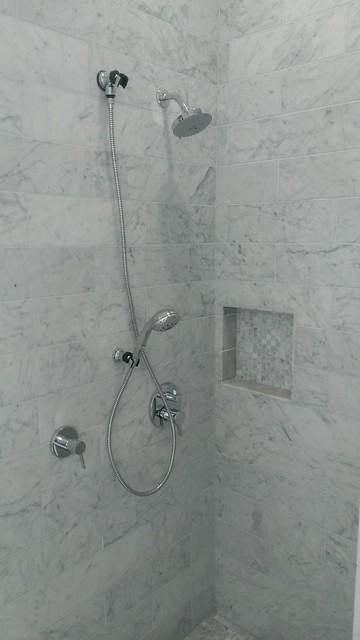 Master Bathroom 6 X 18 Carrera Marble Showers Vanity Wallscontemporary Austin