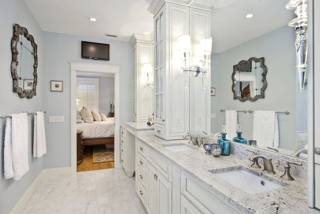 Master bathroom and closet suite traditional bathroom for Master bathroom designs with walk in closets