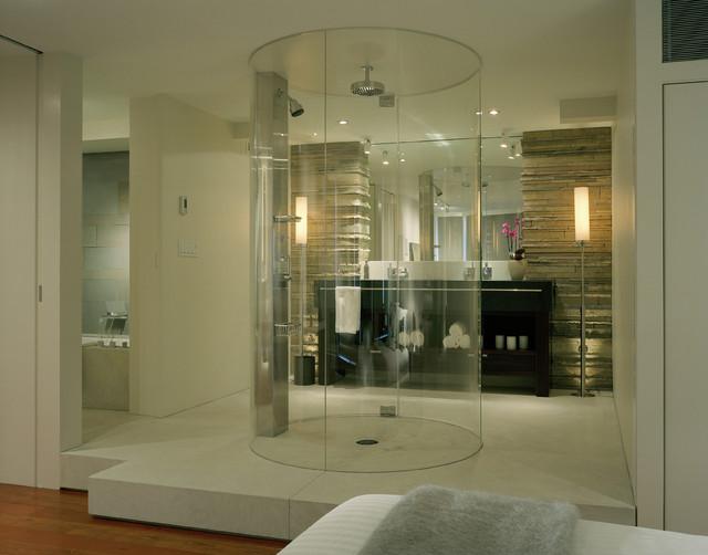 Foto di una stanza da bagno minimal con doccia a filo pavimento