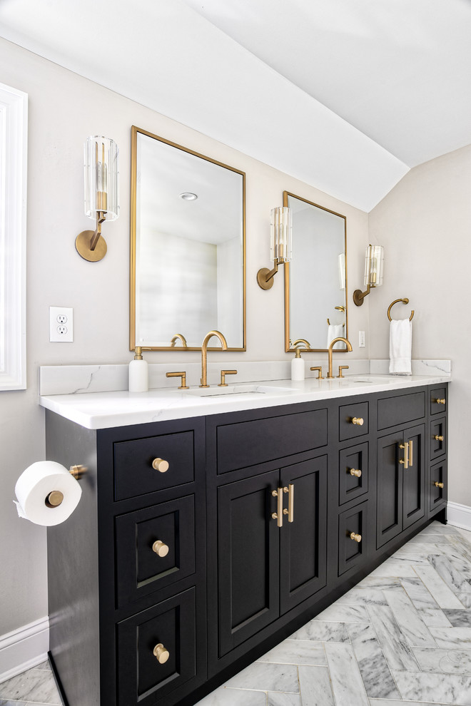 Master Bathroom Black Vanity - Transitional - Bathroom ...