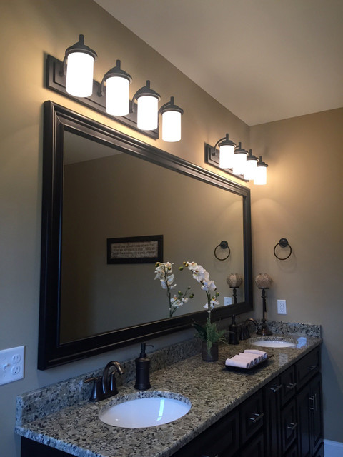 Master bathroom bronze vanity lighting transitional for Master bath lighting ideas