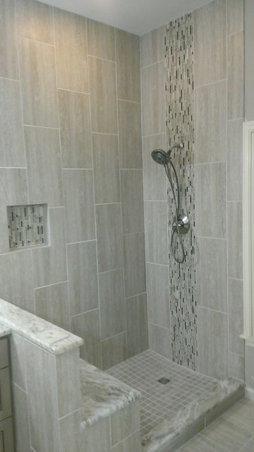 Master bathroom complete remodel 12 x 24 vertical tile for 12x24 bathroom tile ideas