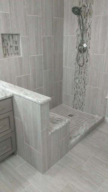 Master bathroom complete remodel 12 x 24 vertical tile for Bathroom design 12 x 8