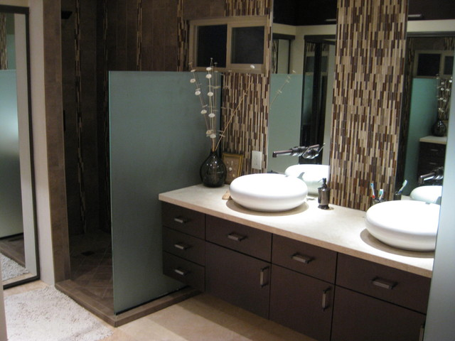 Master bathroom contemporary modern remodel with natural stone and ...