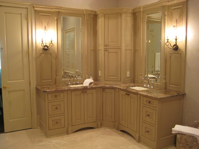 Master bathroom corner space traditional bathroom for Master bathroom cabinet designs