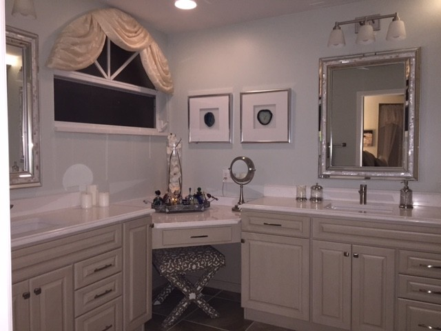 Master Bathroom Corner Vanity Makeup Desk Transitional