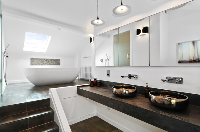 Inspiration For A Contemporary Brown Tile Freestanding Bathtub Remodel In London With Vessel Sink