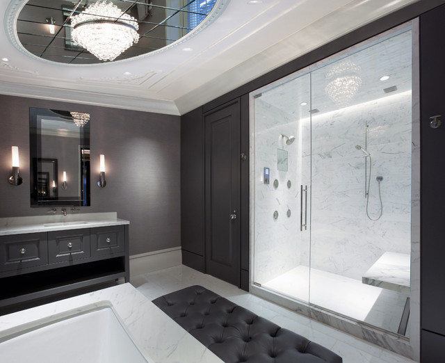 Huge trendy master white tile and marble tile marble floor alcove shower photo in chicago with